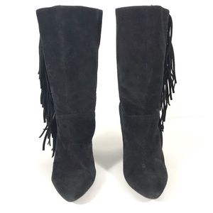 Shoes - Mid Calf Black Suede Booties Boots with Fringe